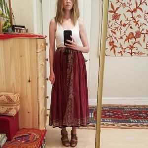 Vintage Indian Hippie Ethnic Gypsy Maxi Skirt S